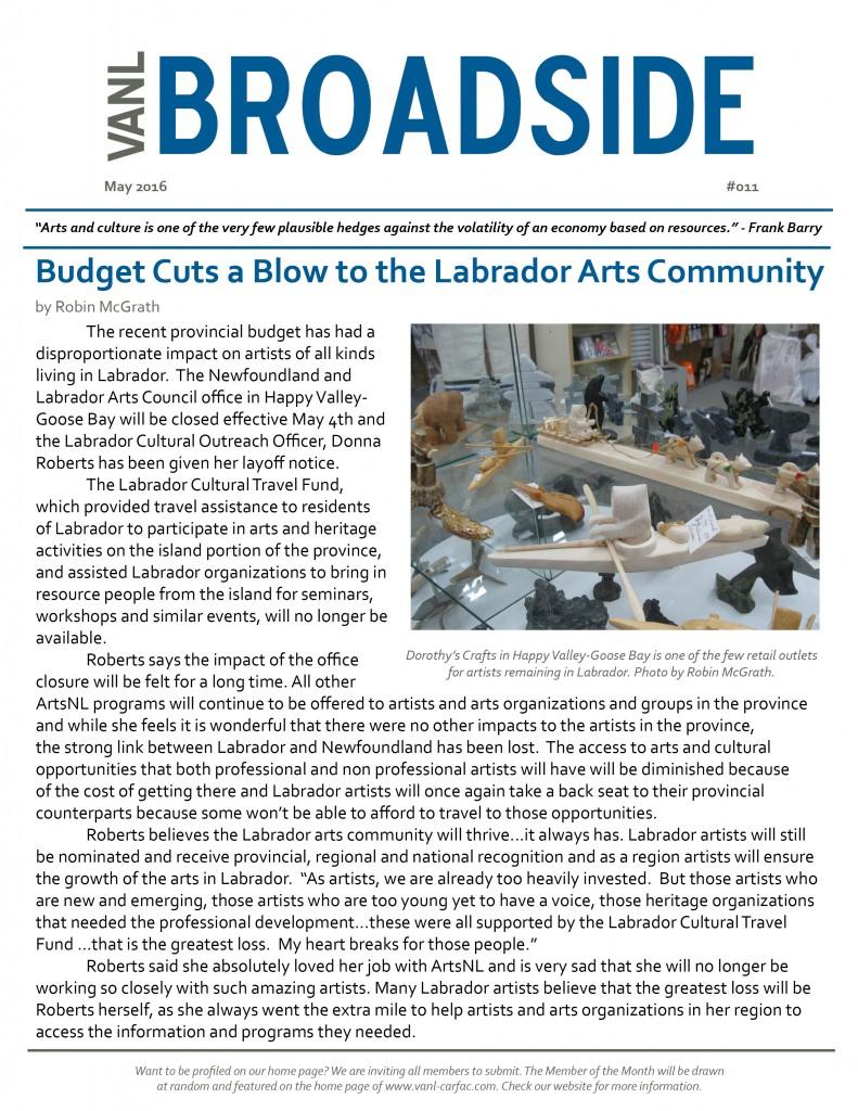 VANL Broadside #011 - May 2016 - Budget Cuts a Blow to the Labrador Arts Community