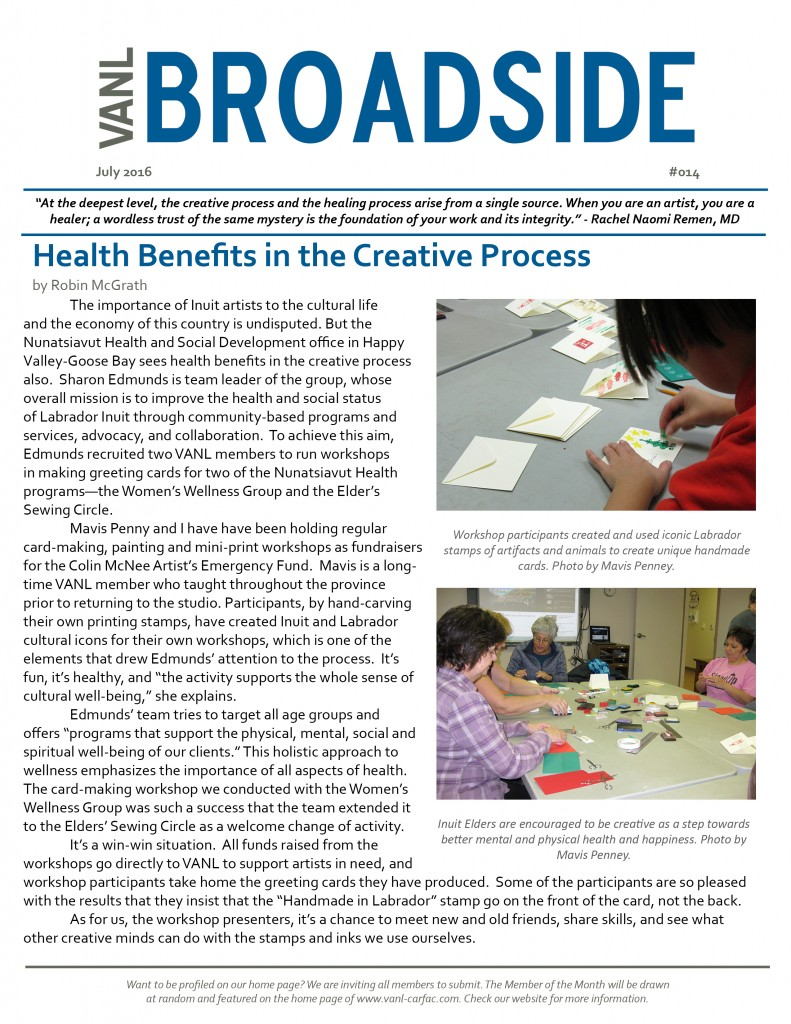 VANL Broadside #014 - July 2016 - Health Benefits of the Creative Process