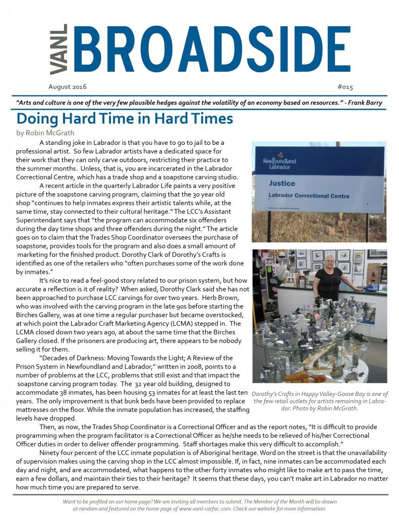 VANL Broadside #015 - Aug 2016 - Doing Hard Time in Hard Times